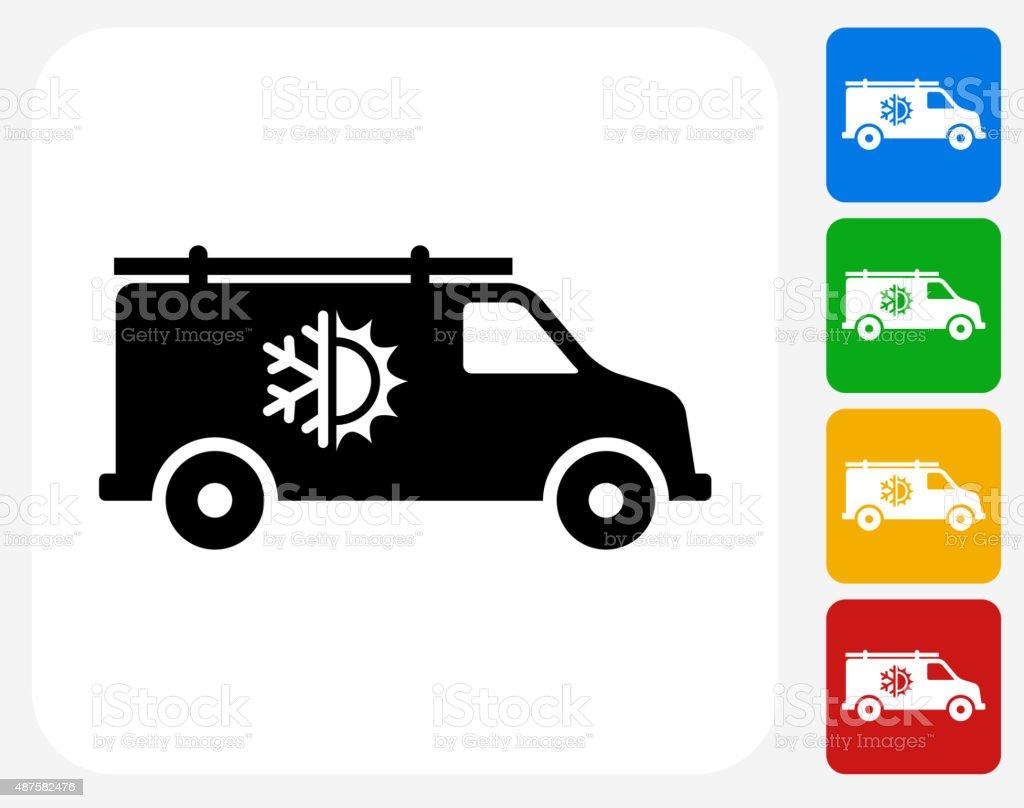 Air Conditioner Truck Icon Flat Graphic Design vector art illustration