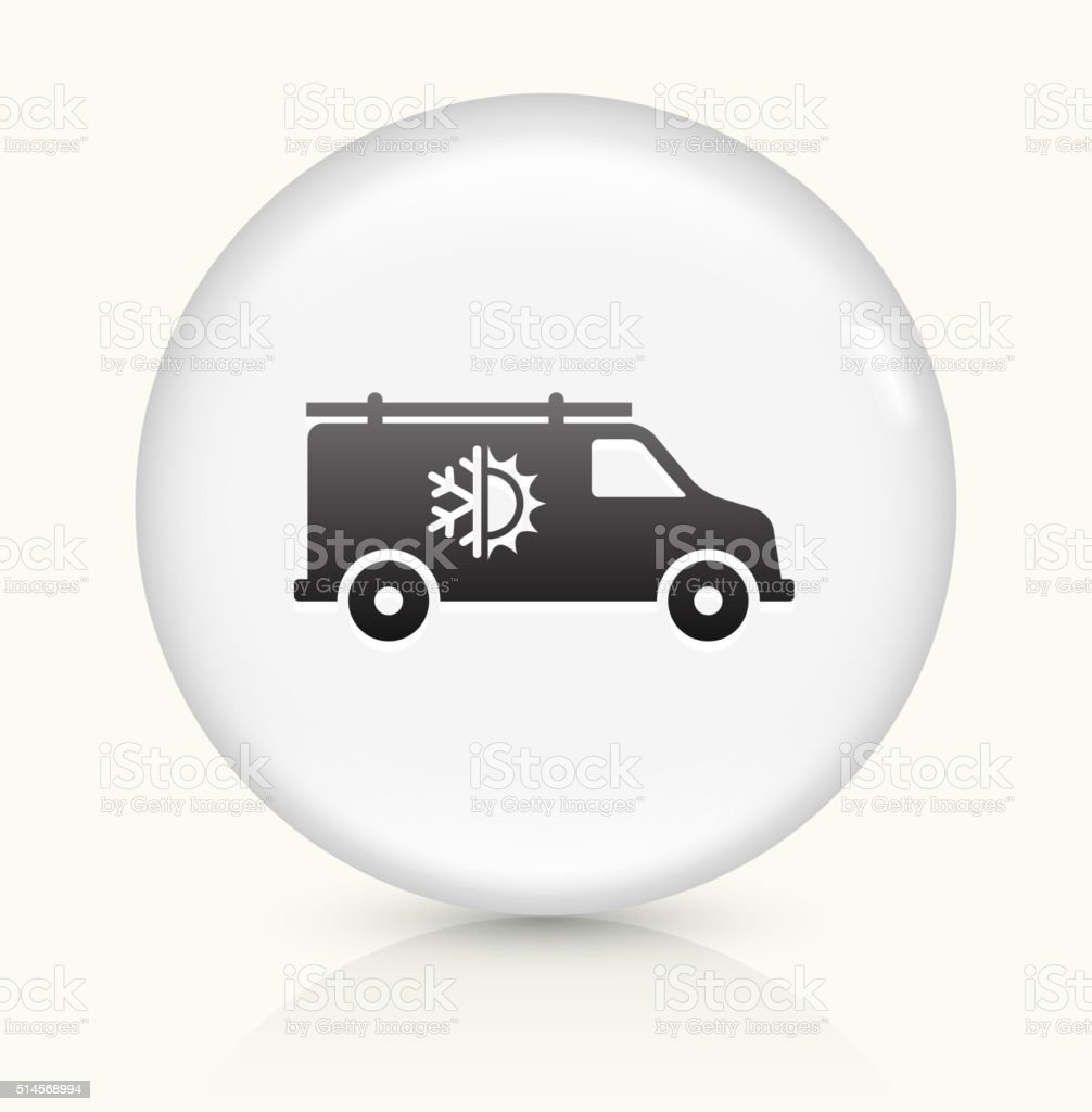 Air Conditioner Truck icon on white round vector button vector art illustration