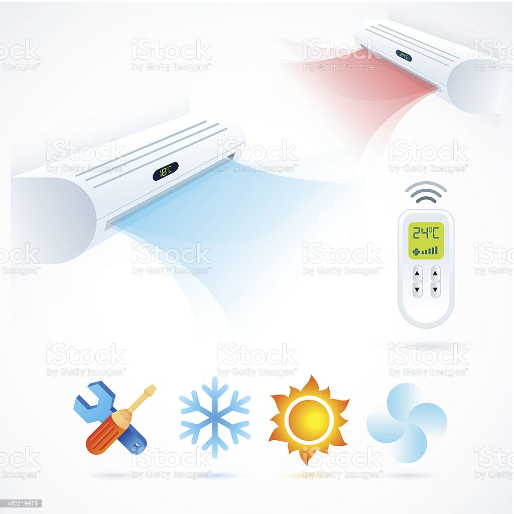 air conditioners cool fun climate element icons set white blue royalty-free stock vector art