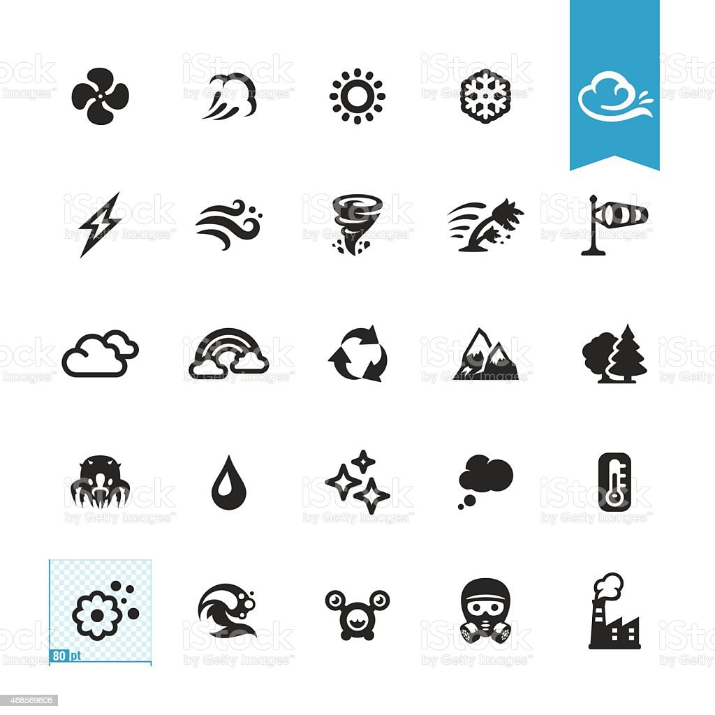 Air conditioning and Purifier related vector icons vector art illustration