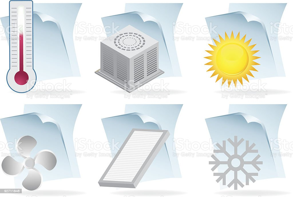 Air Conditioning Document Icons royalty-free stock vector art