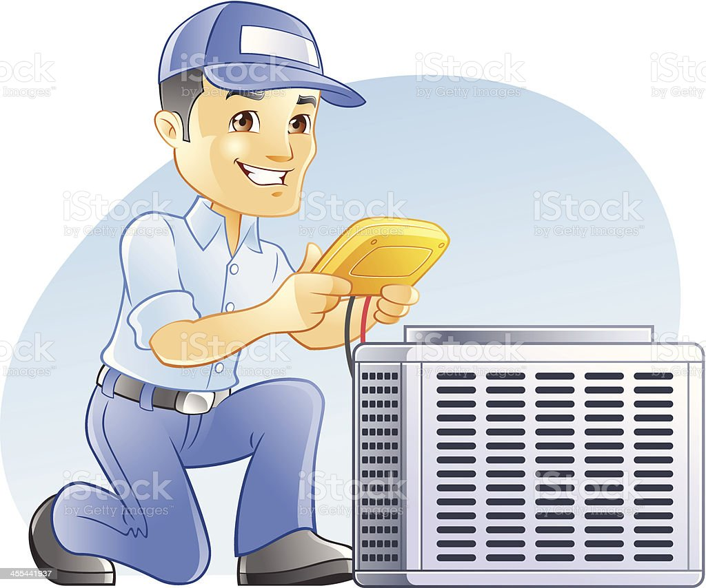 Air Conditioning & Heating, HVAC, diagnostic and repairman vector art illustration