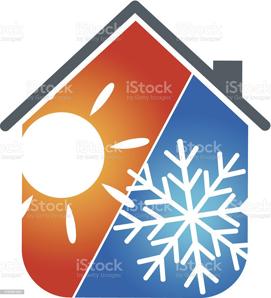 air conditioning house vector art illustration