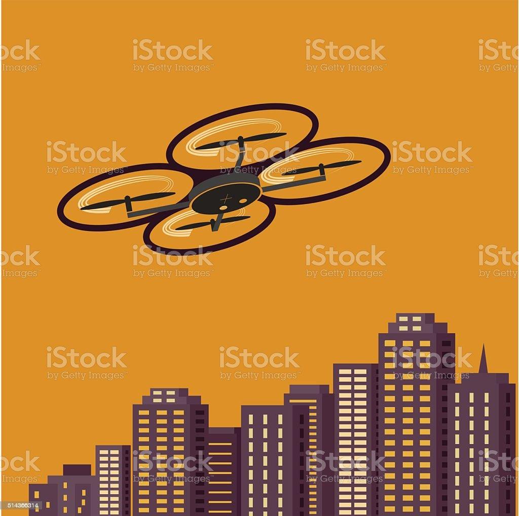 Air drones photography vector art illustration