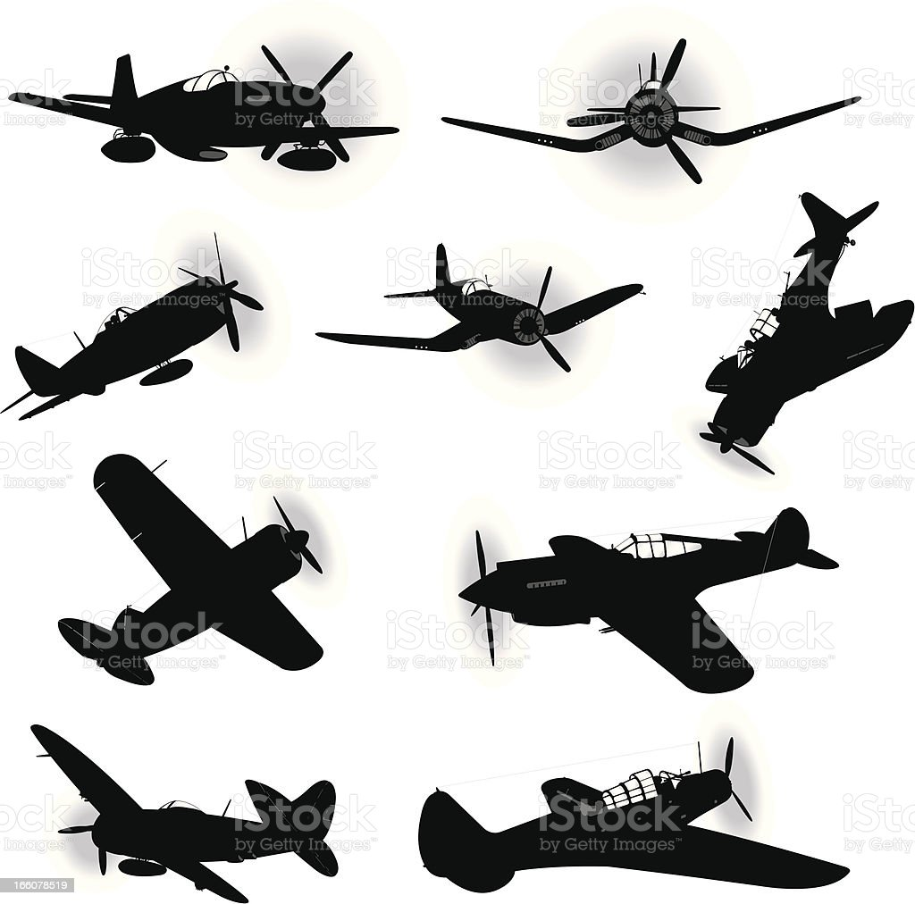 US Air Force Fighter Planes - World War Two vector art illustration