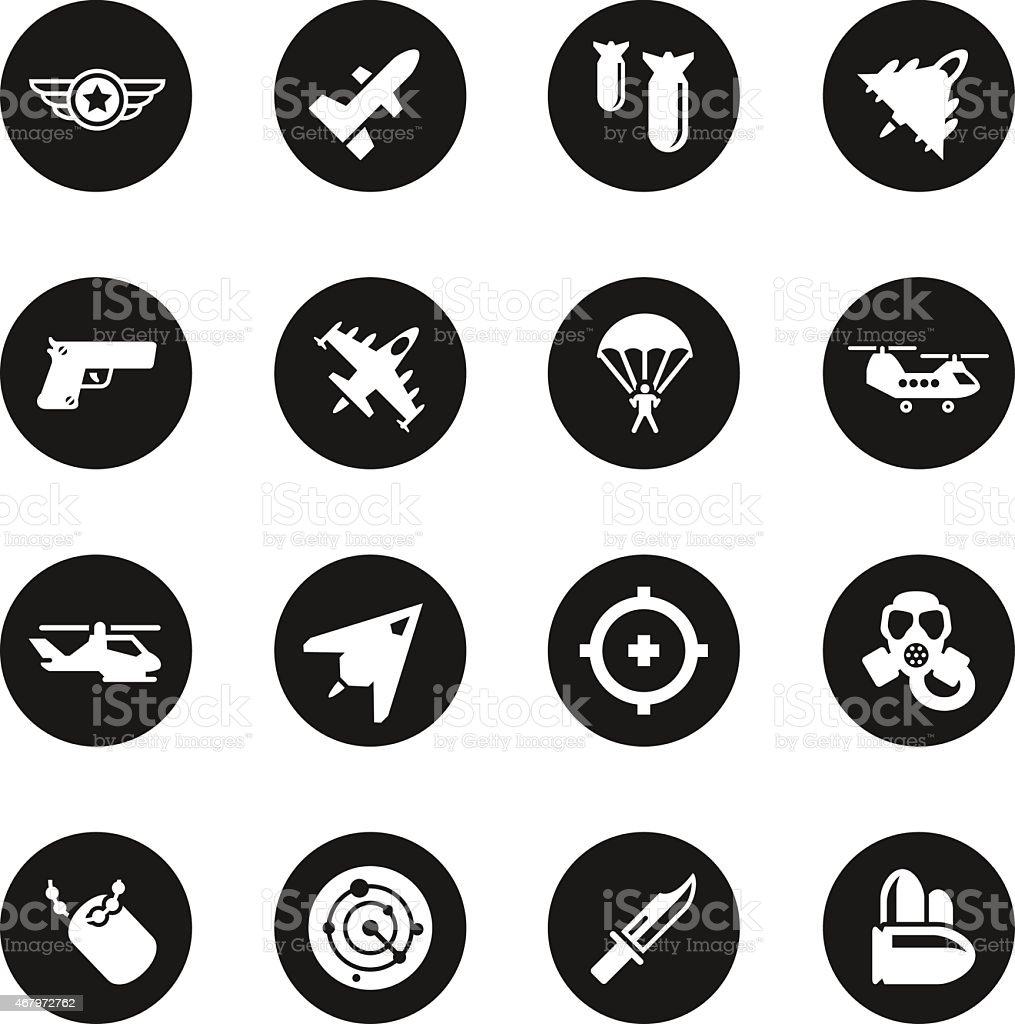 Air Force Icons - Black Circle Series vector art illustration