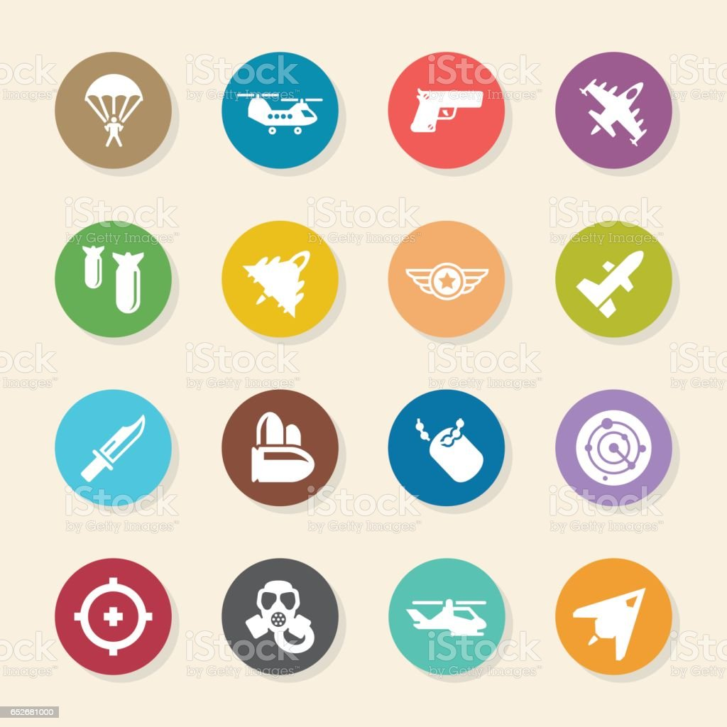 Air Force Icons - Color Circle Series vector art illustration