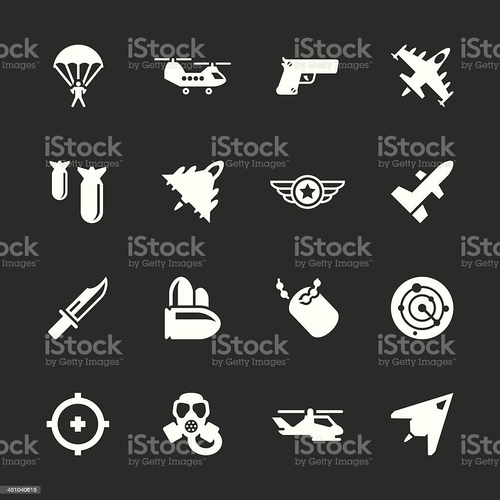 Air Force Icons - White Series | EPS10 vector art illustration