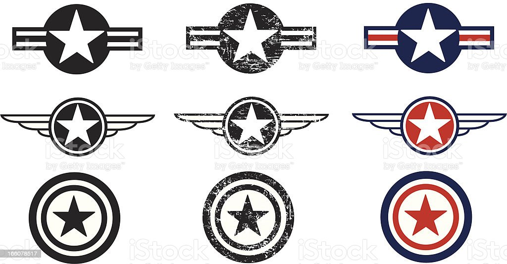 US Air Force Insignias - Armed Forces royalty-free stock vector art