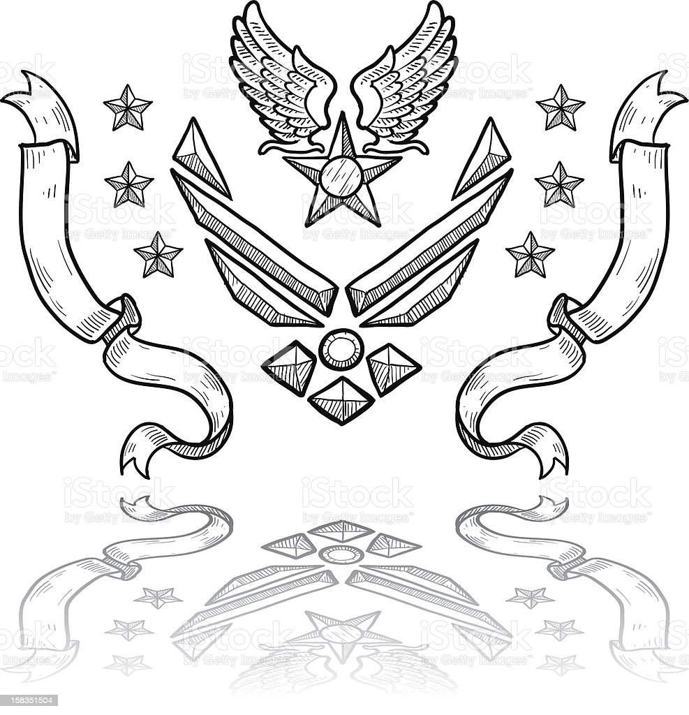 US Air Force military insignia sketch vector art illustration