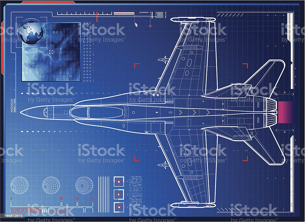 air force monitoring vector art illustration