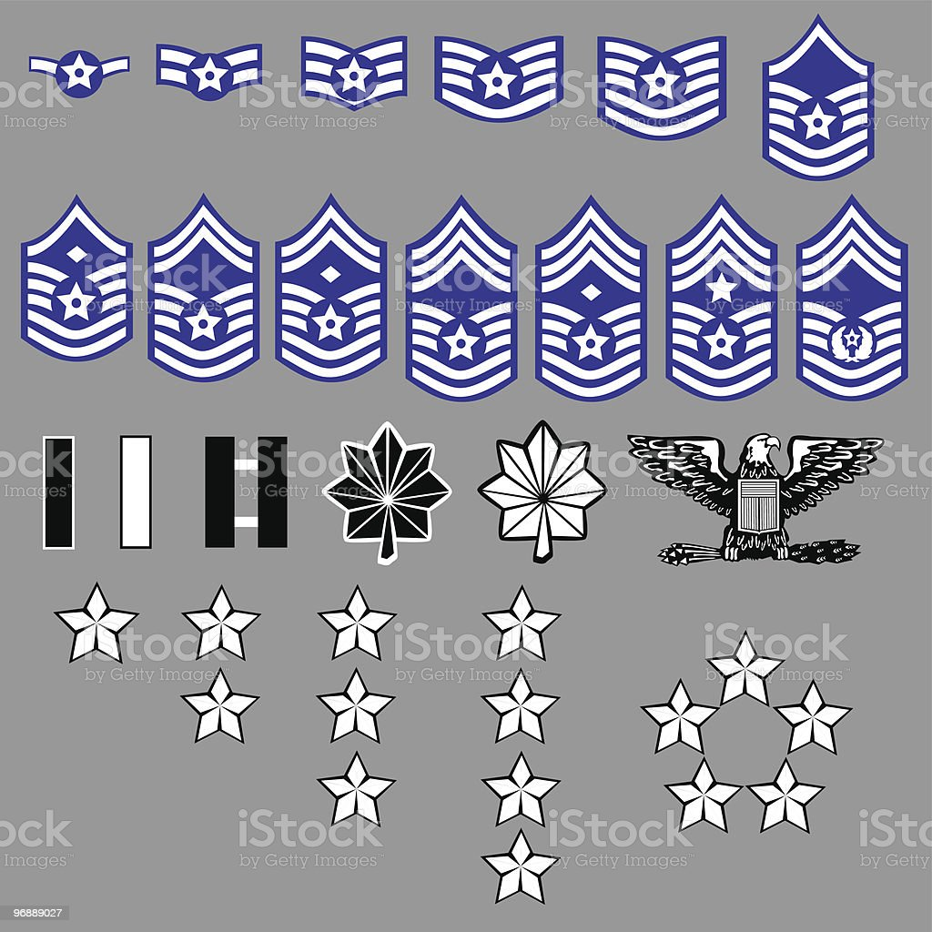 US Air Force Rank Insignia vector art illustration