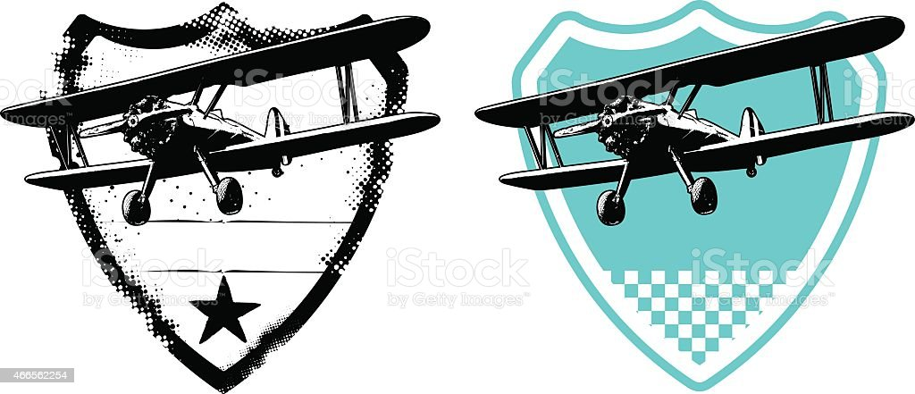 air force shield with plane vector art illustration