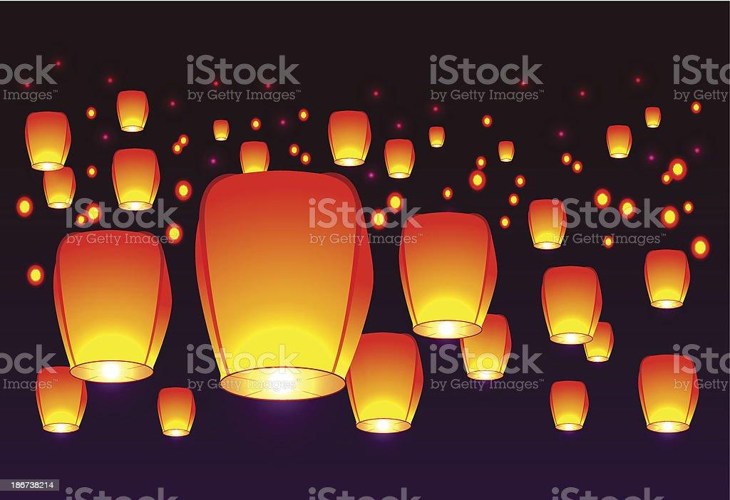 Air lanterns in the sky vector art illustration