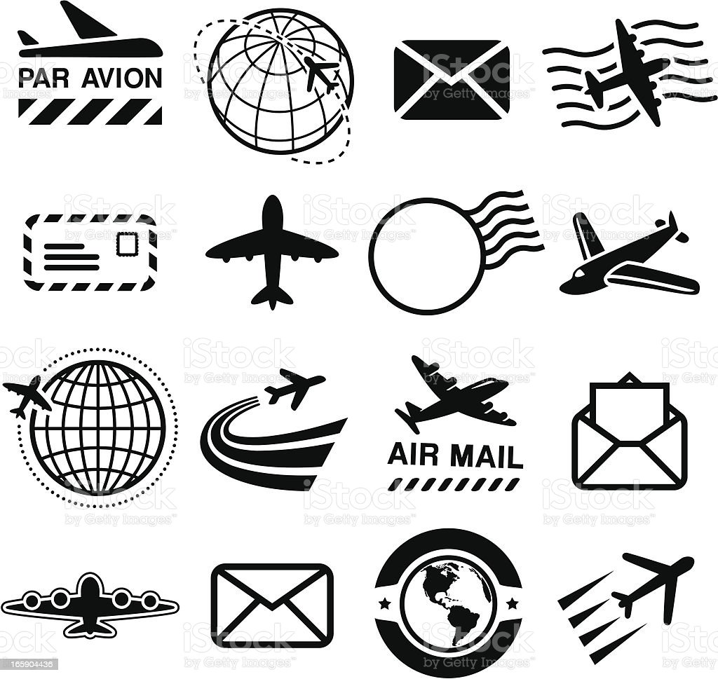 Air Mail - Black Icons vector art illustration
