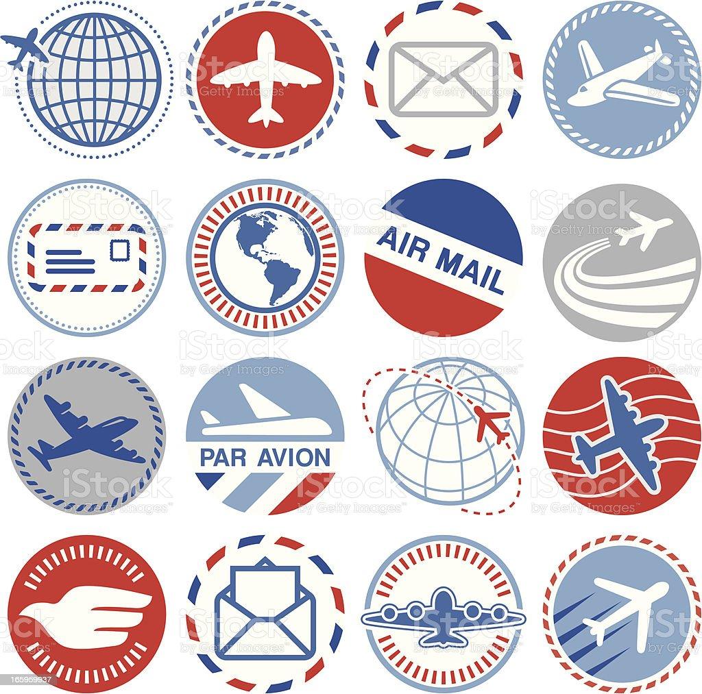 Air Mail - Circle Icons/Seals royalty-free stock vector art