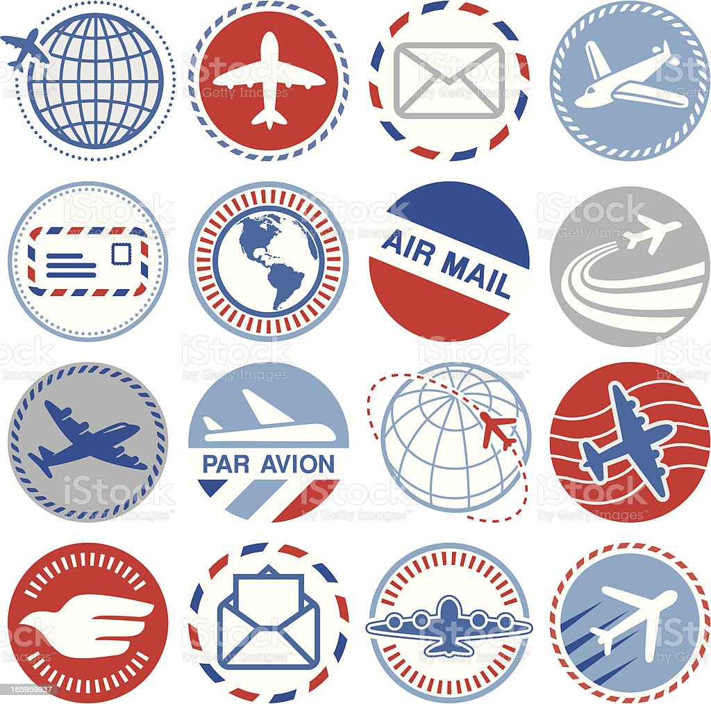 Air Mail - Circle Icons/Seals vector art illustration