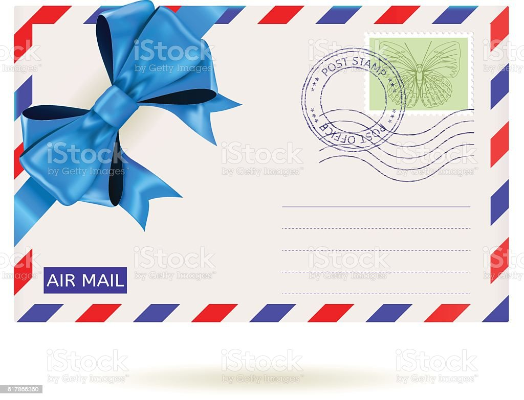 Air mail envelope with blue ribbon bow vector art illustration