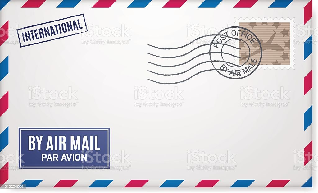 Air mail envelope with postal stamp vector art illustration