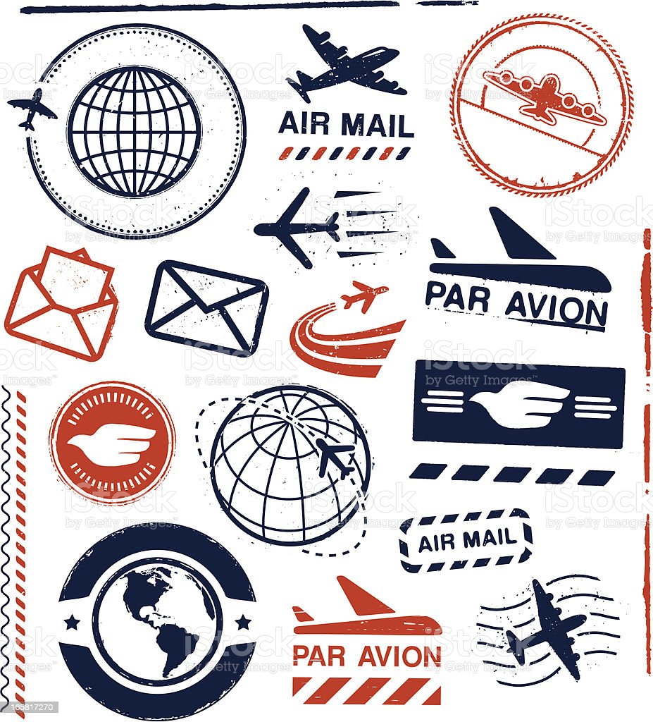 Air Mail Ruber Stamps and Seals vector art illustration