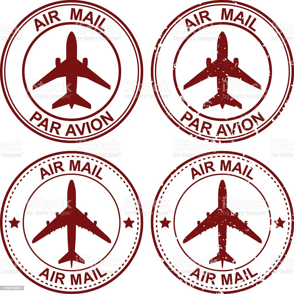 Air Mail Stamp vector art illustration