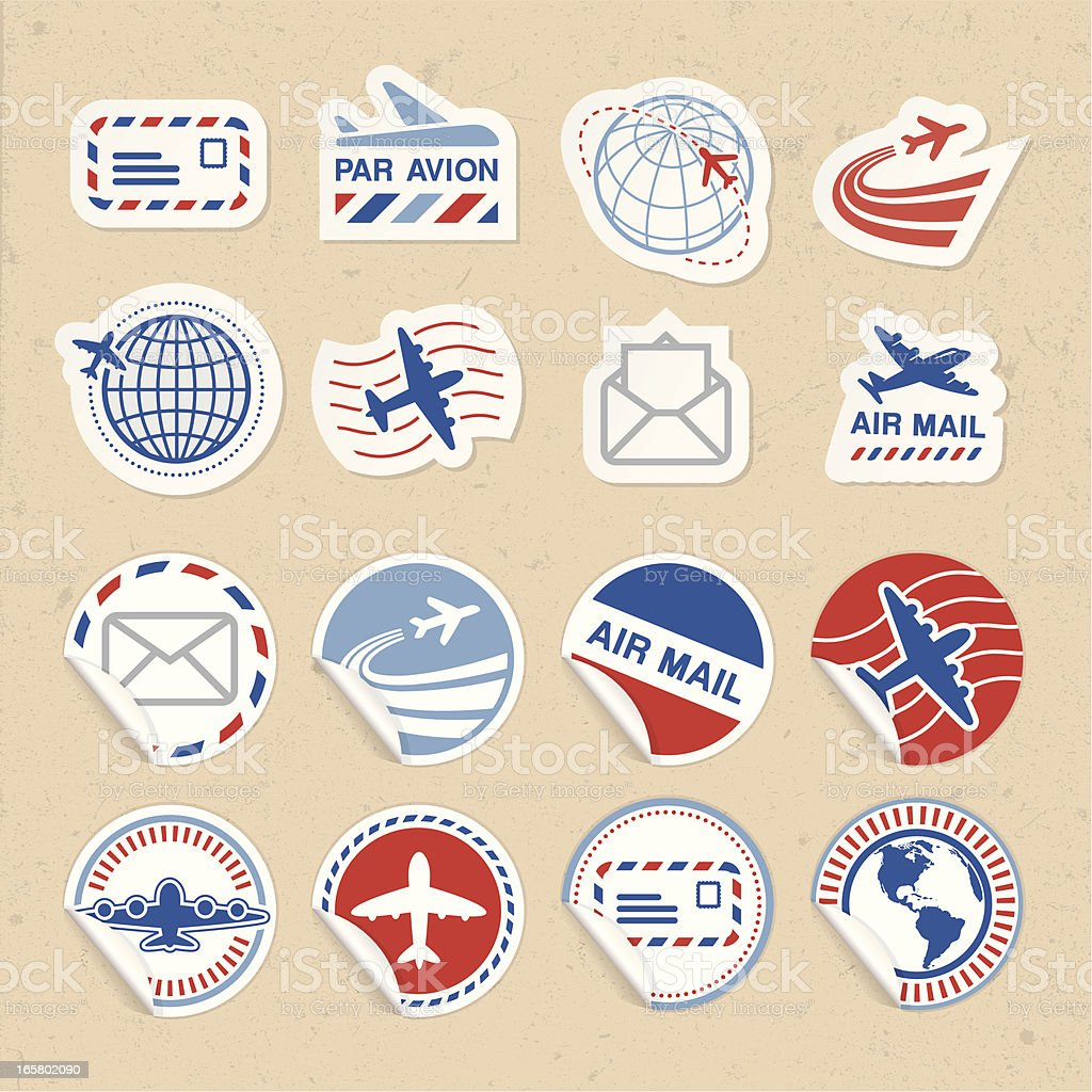 Air Mail Sticker Icons vector art illustration