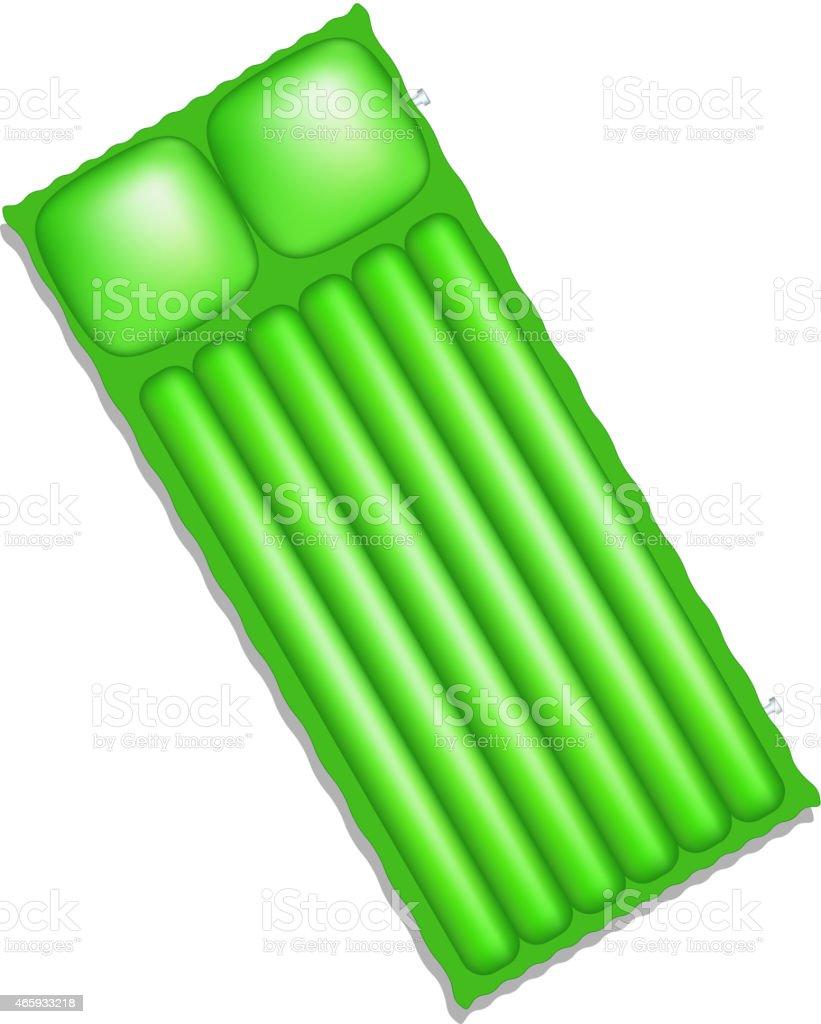 Air mattress in green design vector art illustration