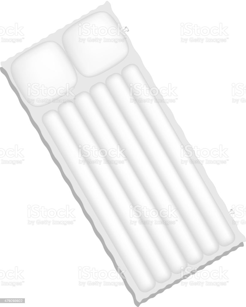 Air mattress in white design with shadow vector art illustration