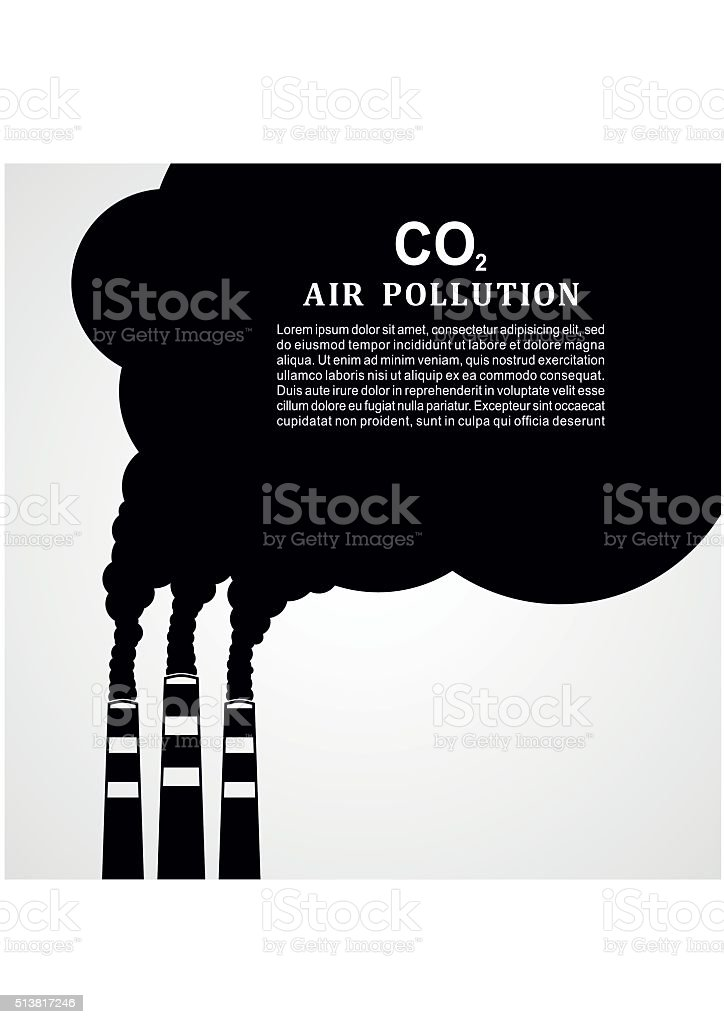 Air pollution. Factory or power plant smoke. Smoking factory concept vector art illustration