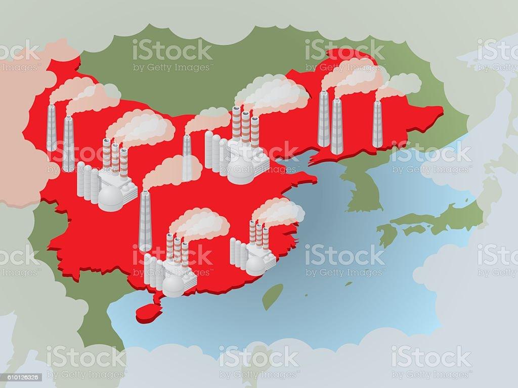 Air pollution in China, image illustration vector art illustration