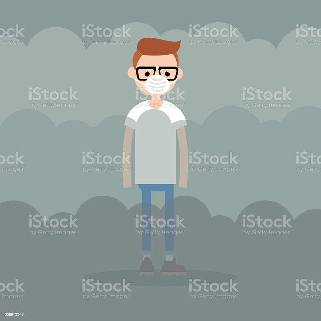 Air pollution. Smog. Young character wearing a protective face mask vector art illustration