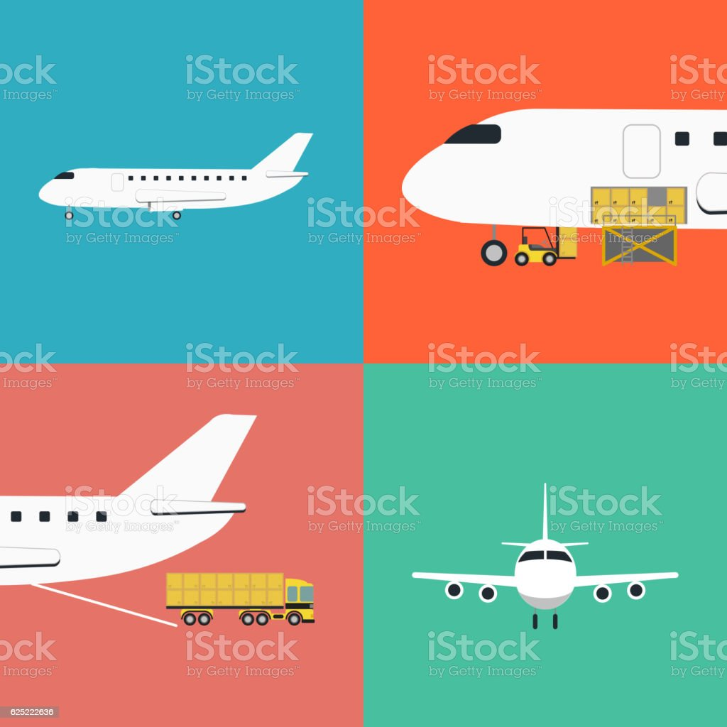 Air shipping and logistics icon set vector art illustration