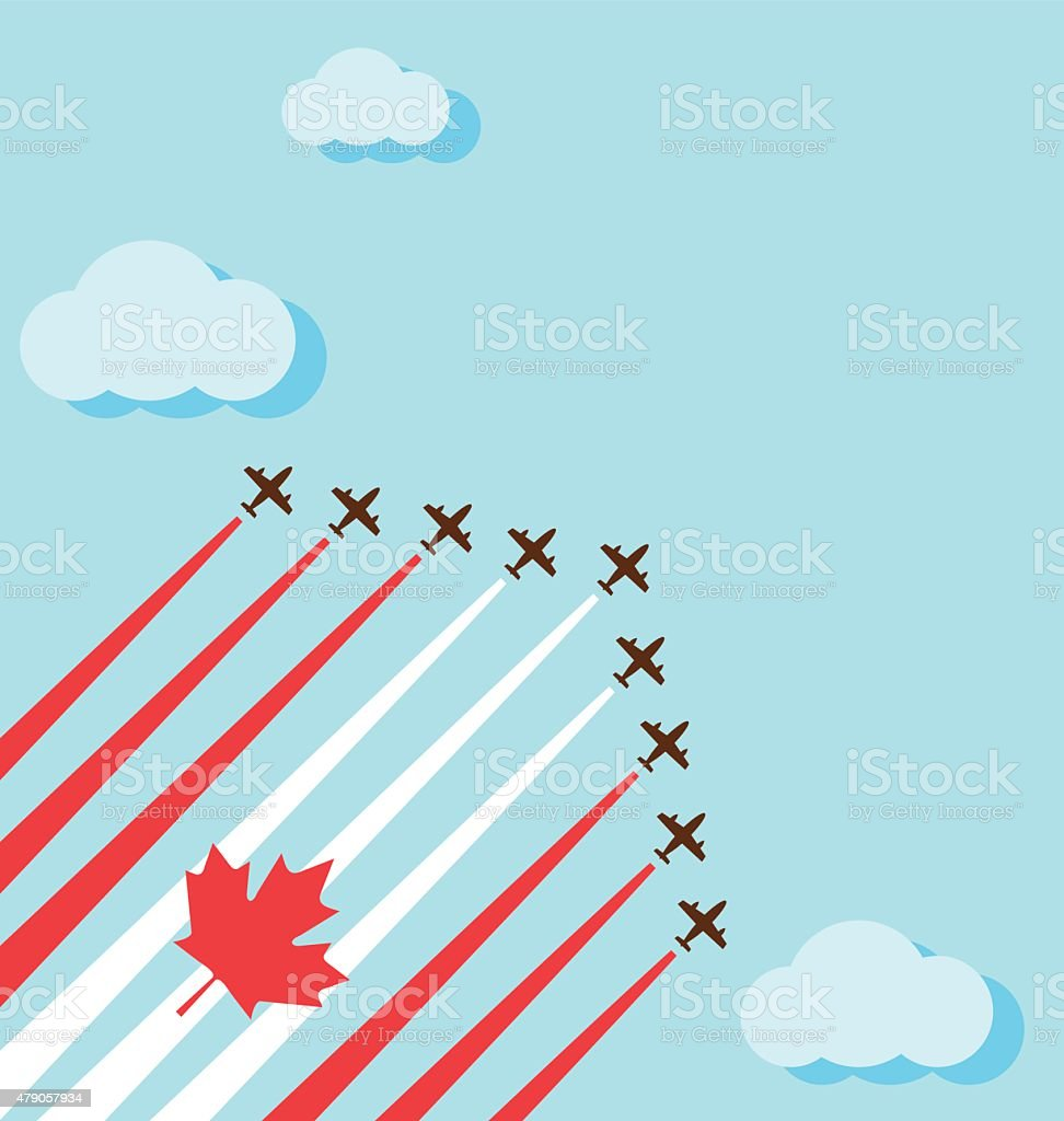 Air show on the sky for the national day of Canada vector art illustration