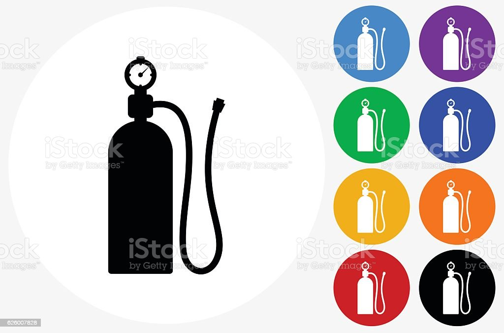 Air Tank Icon on Flat Color Circle Buttons vector art illustration