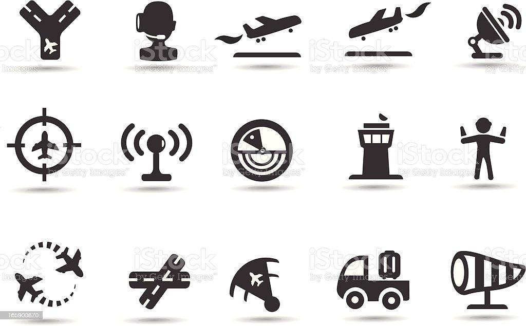 Air Traffic Control Icons vector art illustration