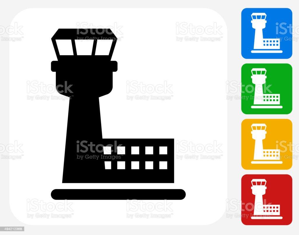 Air Traffic Control Tower Icon Flat Graphic Design vector art illustration