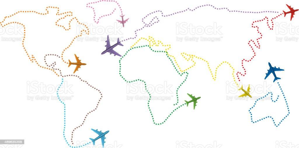 Air transportation round the world vector art illustration