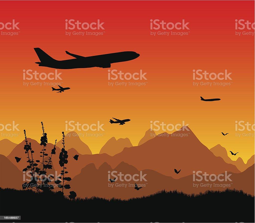 Air transportation vector art illustration
