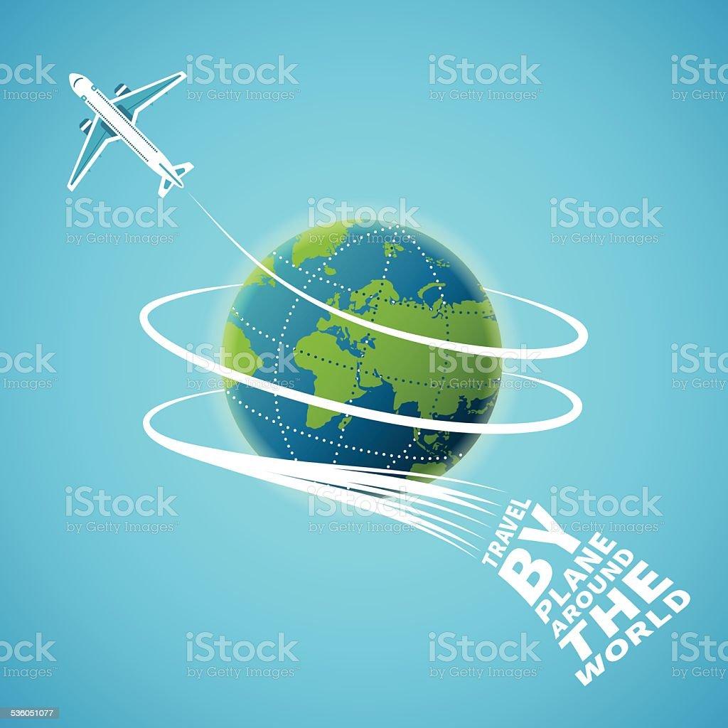 Air travel around the world vector concept vector art illustration