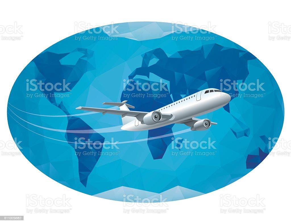air travel around the world vector art illustration