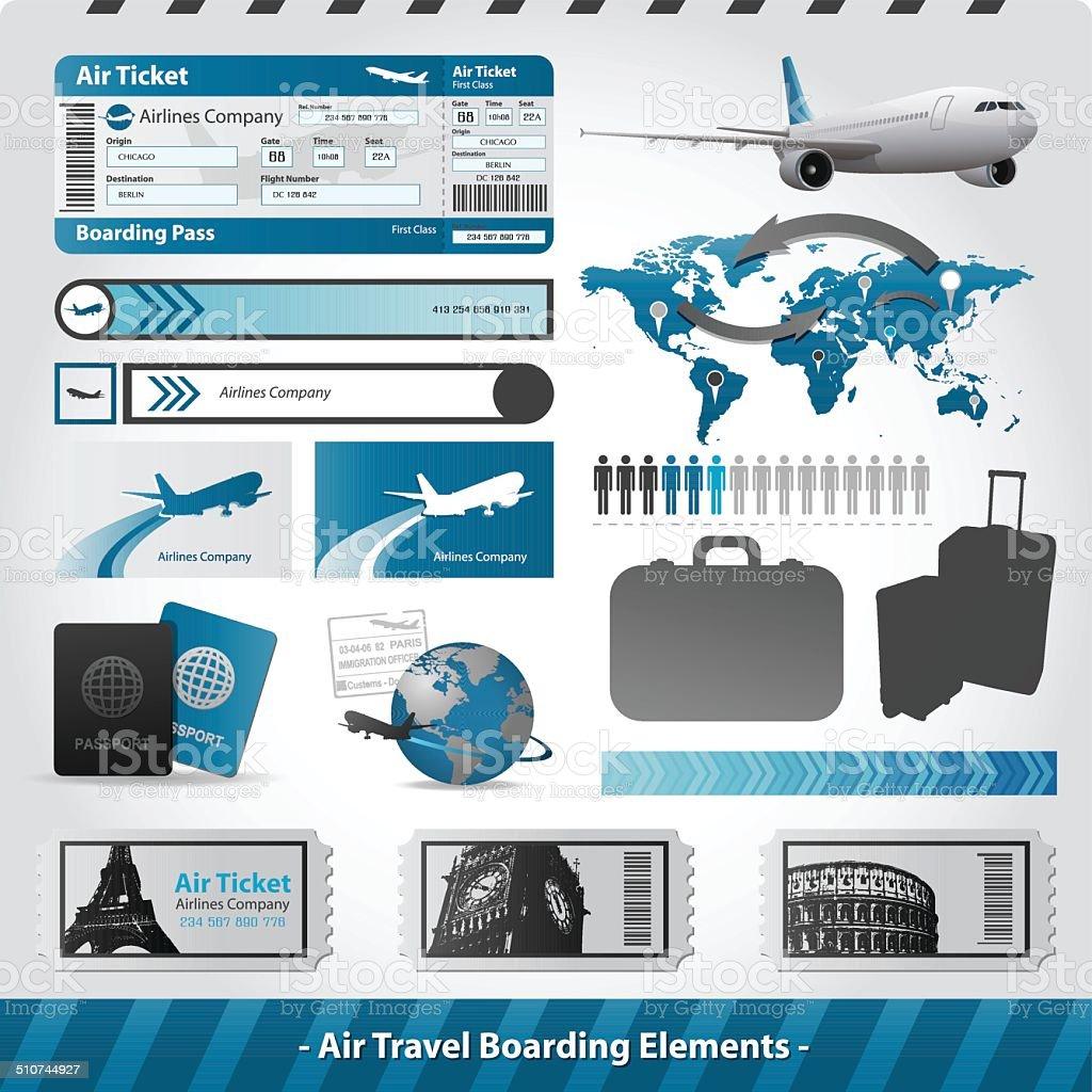 Air travel design elements flight boarding vector art illustration