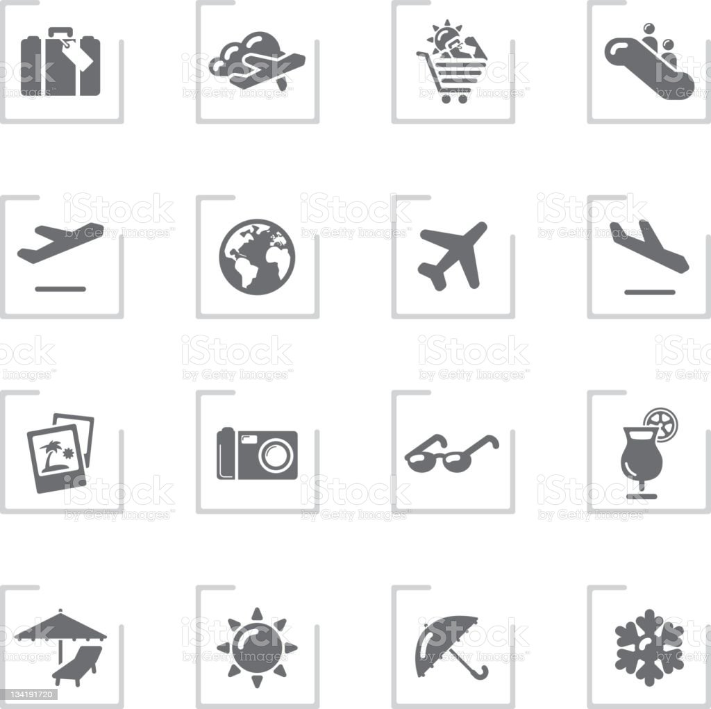 Air Travel & Holidays Icons | Framed Grey stock photo