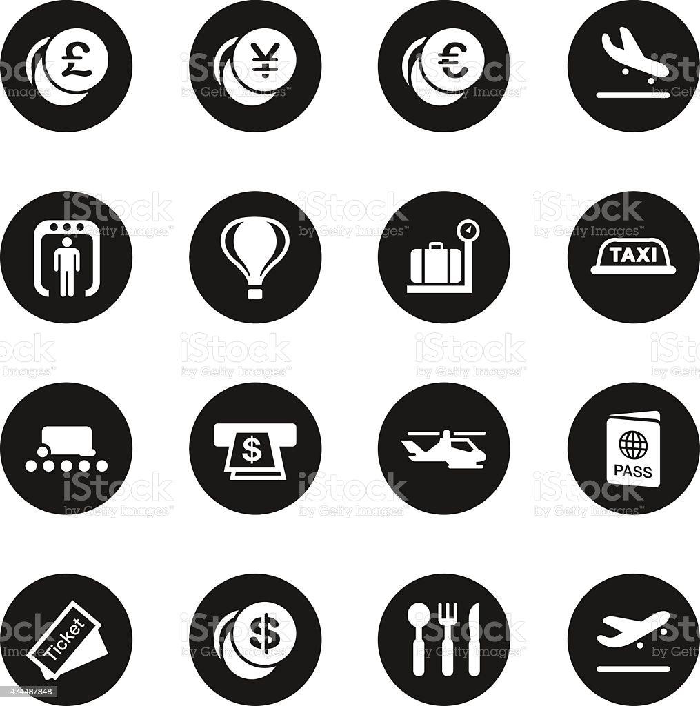 Air Travel Icons - Black Circle Series vector art illustration