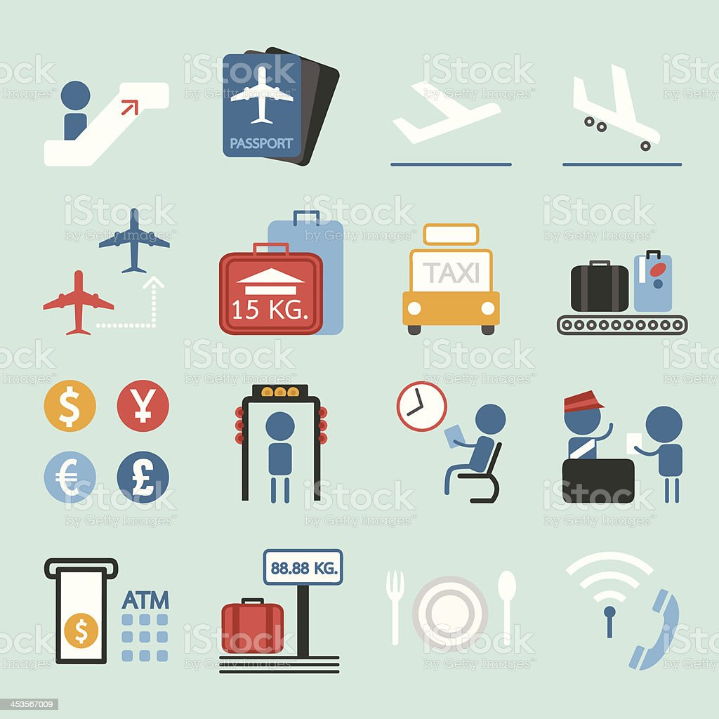 Air Travel icons royalty-free stock vector art