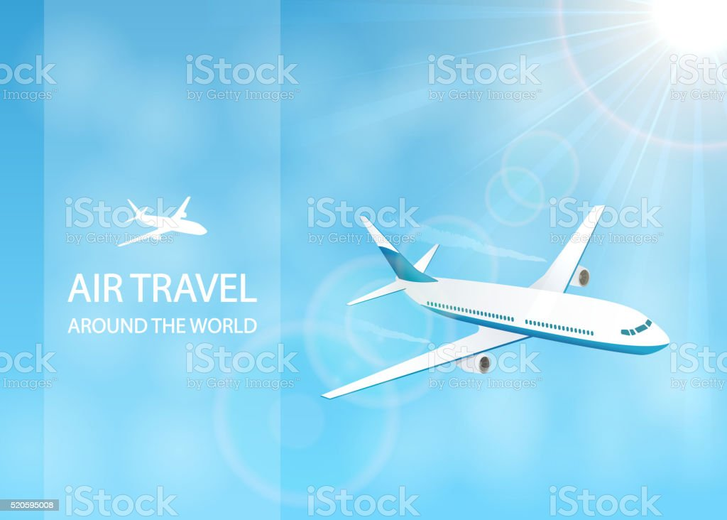 Air travel with white plane in the sky vector art illustration