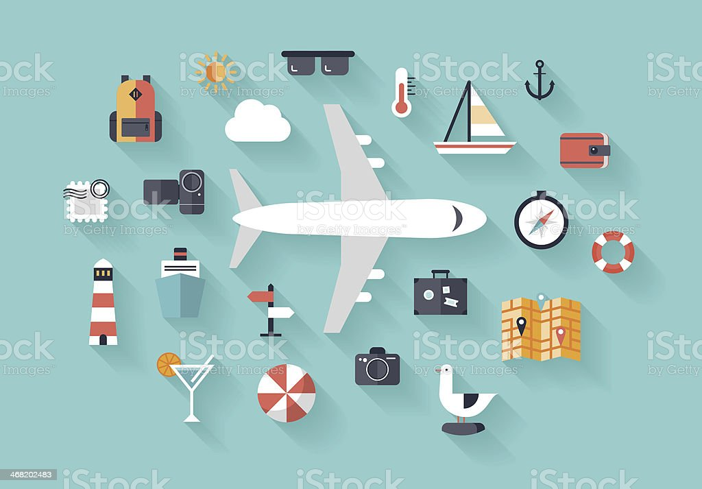 Air trip flat illustration concept vector art illustration