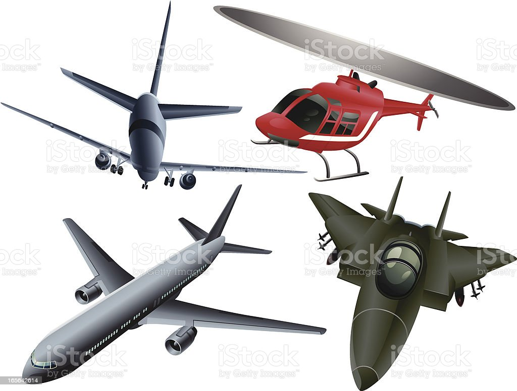 Air Vehicles Set royalty-free stock vector art