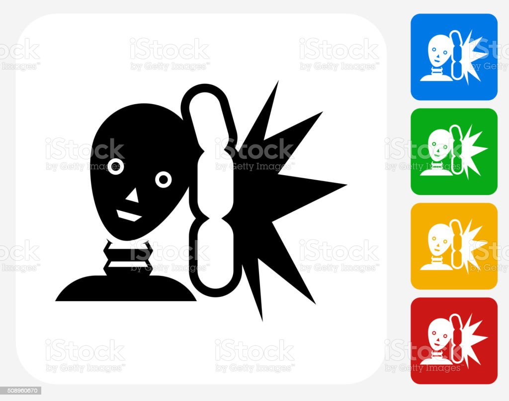 Airbag Test Icon Flat Graphic Design vector art illustration