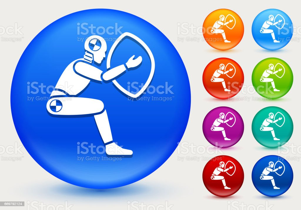 Airbag Test Icon on Shiny Color Circle Buttons vector art illustration