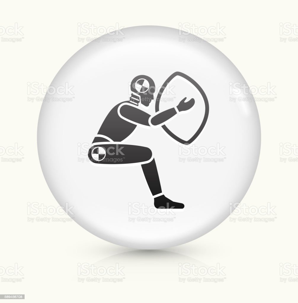 Airbag Test icon on white round vector button vector art illustration